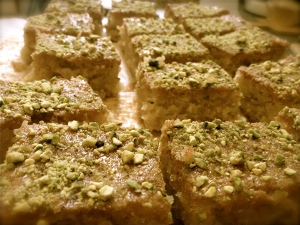 Lemon and Cardamom Drizzle with Pistachio